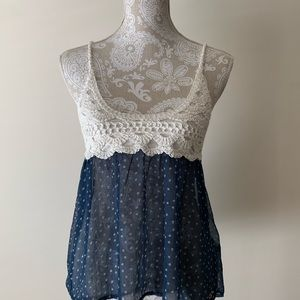 Hollister small navy blue and white baby doll top.